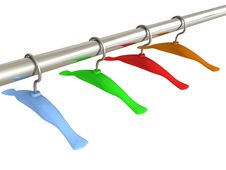 Free Set Of Colorful Hangers On A Metal Pipe Stock Photography - 20220162