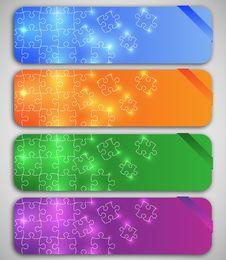 Free Modern Elegant Puzzle Design Banners Royalty Free Stock Image - 20222306