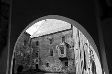 Free View Through An Arch Towards A Stone Castle Courty Stock Image - 20224941