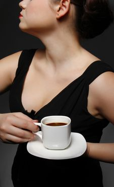 Free Woman With A Cup Of Black Coffee Stock Photos - 20226343