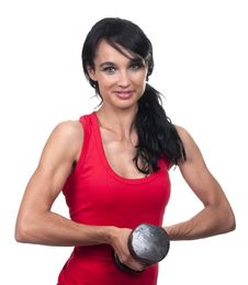 Free Brunette With Dumbbell Stock Photo - 20226680