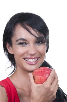 Free Brunette With Apple Stock Photos - 20226703