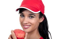 Free Brunette With Red Apple Royalty Free Stock Images - 20226739