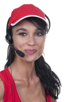 Free Brunette With Red Hat Operator Royalty Free Stock Images - 20226769