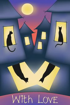 Cats, Night Sity, Moon And Love Stock Photos