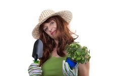 Free Redhead Woman Working In The Garden Stock Photo - 20226890