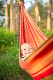 Free Adorable Baby Rest In Hammock Under Trees Stock Images - 20227204