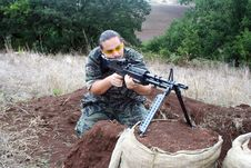 Free Airsoft Soldier With M60 Stock Photo - 20228250