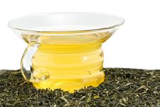 Cup Of Green Tea With Tea Leaves Royalty Free Stock Photos