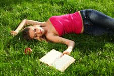 Woman In The Park With Book Stock Image