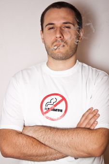 No Smoking Smoking Guy Royalty Free Stock Photo