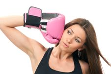 Beautiful Boxing Woman In Pink Box Gloves Royalty Free Stock Photo
