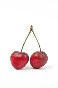 Free Two Sweet Cherries Isolated On White Background Royalty Free Stock Photos - 20229208