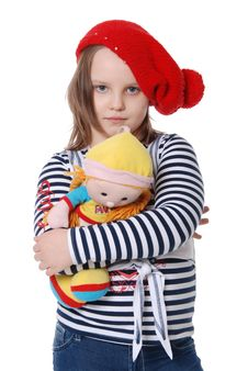 The Girl And A Doll Stock Photography
