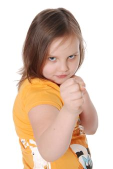Free Little Girl With Fists, White Background Stock Photo - 20229670