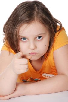 Free The Little Girl, Points A Finger Royalty Free Stock Photo - 20229705