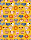 Free Cartoon Animal Face Seamless Pattern Royalty Free Stock Photography - 20231587