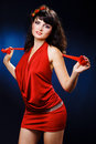 Free Lovely Girl In Red Dress Stock Images - 20235754