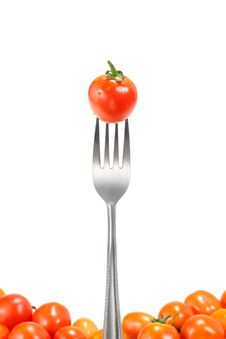 Free The Fresh Tomatoes With Fork Royalty Free Stock Image - 20230486