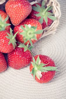 Fresh Strawberries In A Basket Royalty Free Stock Images