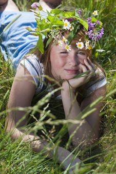 Free Redhead Girl With Wreath Stock Photography - 20231152