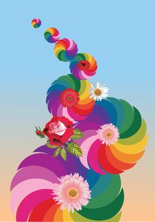 Free Abstract Rainbow Design With Flowers Stock Image - 20231291