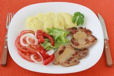 Fried Pork With Sauce And Potato Royalty Free Stock Images