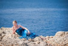 Free Pretty Woman On The Rocky Mountain Near The Sea Royalty Free Stock Image - 20231516