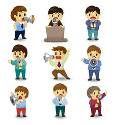 Free Set Of Funny Cartoon Office Worker Talk With Micro Stock Photography - 20231562