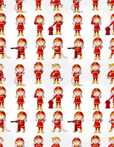 Free Cartoon Fireman Seamless Pattern Stock Photos - 20231583