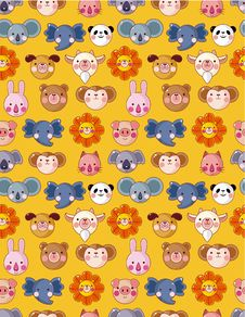 Cartoon Animal Face Seamless Pattern Royalty Free Stock Photography