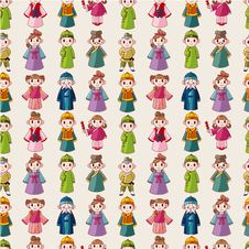 Free Cartoon Chinese People Seamlese Pattern Stock Photos - 20231603