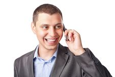 Smiling Happy Young Businessman With Mobile Stock Photography