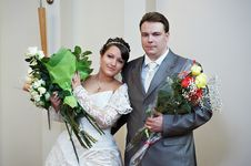 Free Bride And Groom With Flowers Royalty Free Stock Photos - 20233018