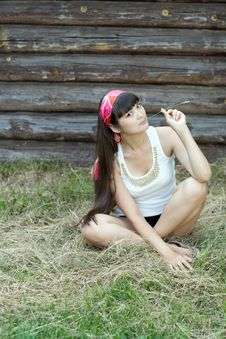 Free Beautiful Girl Sitting On Hay Stock Images - 20233124