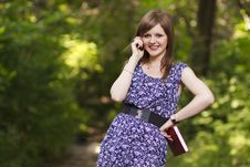 Free Cute Girl Talking On The Phone Royalty Free Stock Photos - 20233998