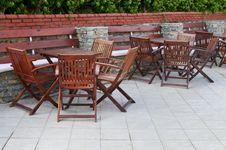 Free Wooden Chairs And Tables In The  Resort. Royalty Free Stock Image - 20235246