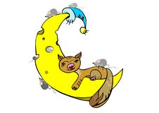 Free Ginger Cat Sleeping On The Moon Stock Photo - 20235250