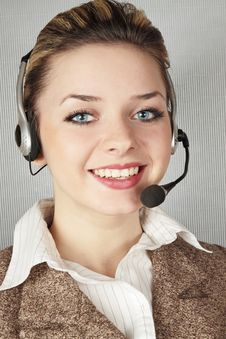 Woman With Telephone Headset Royalty Free Stock Photography