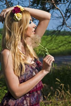 Free Woman With A Dandelion Stock Photography - 20236022