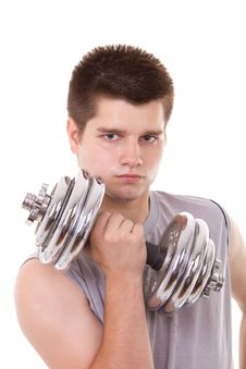 Free Man With Dumbbells Royalty Free Stock Photography - 20236037