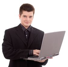 Free Business Man Holding Laptop On White Stock Image - 20237061