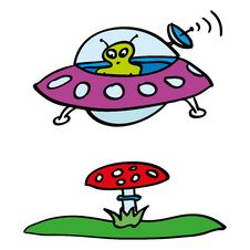 Free Doodle Contact Of Ufo And Mashroom Royalty Free Stock Image - 20237406