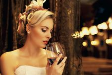 Free Beautiful Woman Drinking Red Wine Royalty Free Stock Image - 20237566
