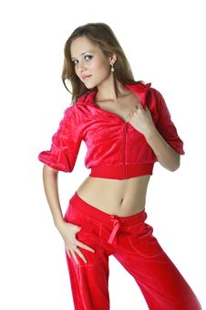 Free Beautiful Girl In A Red Suit Royalty Free Stock Images - 20237599