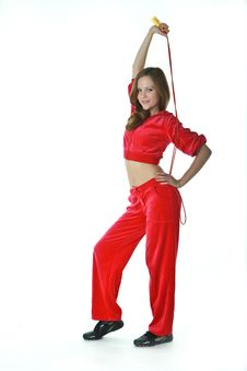 Free The Slender Girl In A Red Tracksuit Stock Images - 20237754