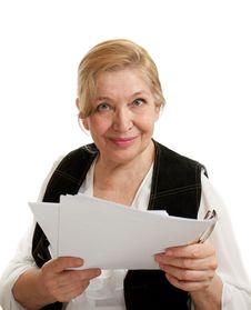 Free Senior Woman In Black On White Background Stock Photography - 20238612