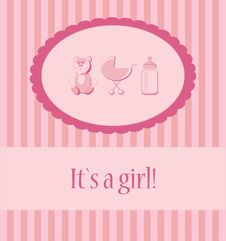 Baby Girl Arrival Announcement Card. Royalty Free Stock Image