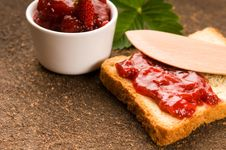 Free Breakfast Of Cherry Jam On Toast Stock Photo - 20239330