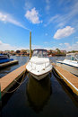 Free Motor Boat Docked In The Marina. Royalty Free Stock Image - 20240936